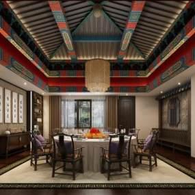 新中式酒店餐厅包厢3D模型【ID:631939803】