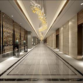 新中式酒店公共通道及电梯厅3D模型【ID:734057655】