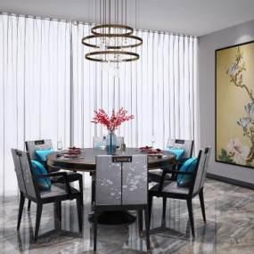 新中式�A形餐桌椅吊�艚M合3D模型【ID:843090847】