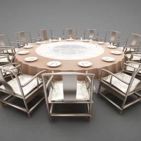 新中式风格餐桌3D模型【ID:847381886】