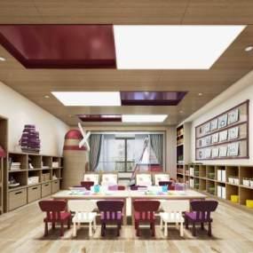 现代幼儿园美术室3D模型【ID:945660622】