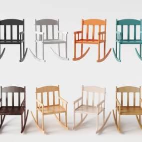 北欧实木摇椅组合3D模型【ID:732103097】