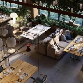 现代西餐厅3D模型【ID:643412213】