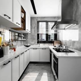 现代简约厨房3D模型【ID:543360387】