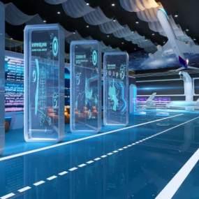 現代科技航空展廳展館3D模型【ID:953556747】