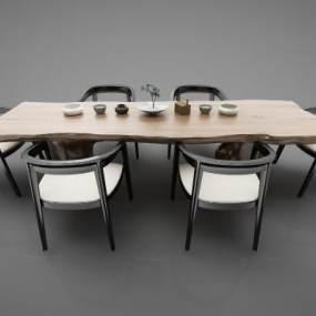 新中式風格茶桌3D模型【ID:844149867】