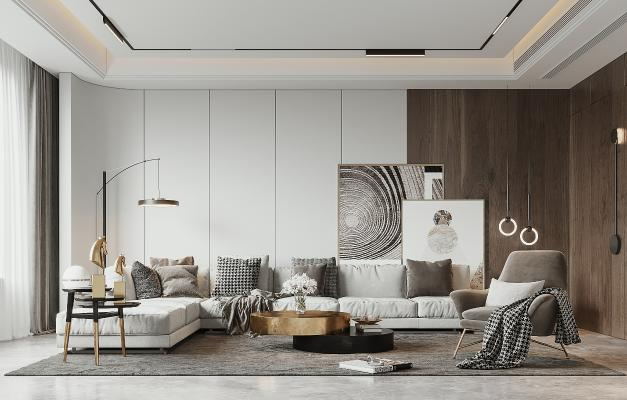 现代客厅 沙发 单椅