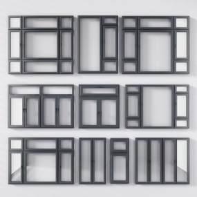 现代铝合金窗组合3D模型【ID:344036273】