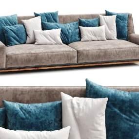 现代布艺三人沙发抱枕组合3D模型【ID:633203608】
