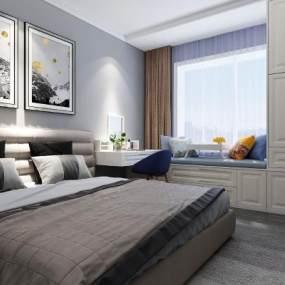 现代轻奢卧室3D模型【ID:550930260】