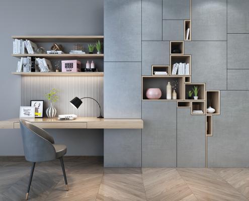 现代多功能书桌椅组合 桌面书籍 书本饰品 盒子 箱子