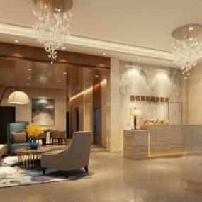 現代風格酒店大堂3D模型【ID:747967027】