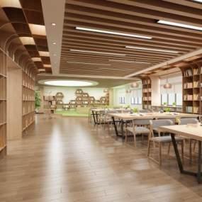 現代學校圖書館3D模型【ID:951004812】