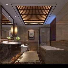 新中式卫生间3D模型【ID:534785534】