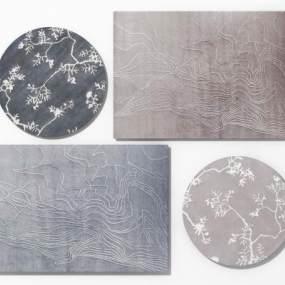 新中式地毯组合3D模型【ID:332671716】