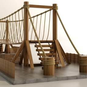 现代复古吊桥 3D模型【ID:142334493】