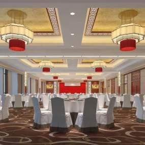 公司大型宴会厅3D模型【ID:741506286】