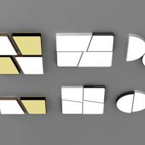 现代吸顶灯组合3D模型【ID:846533053】