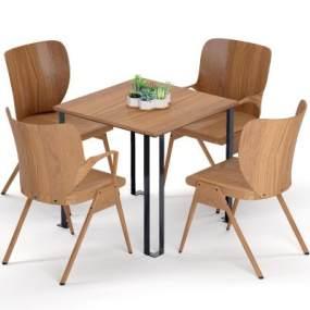 現代原木餐桌3D模型【ID:853392852】