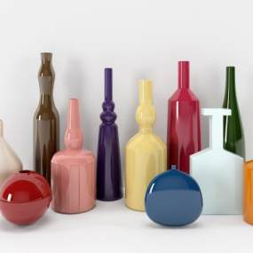 現代時尚陶瓷器皿瓶罐組合3D模型【ID:252600500】