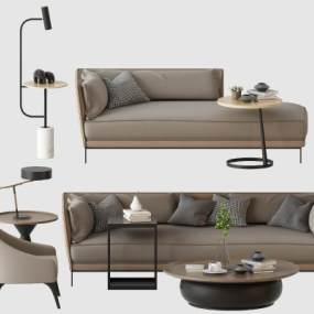 北歐沙發躺椅單椅組合3D模型【ID:646923531】