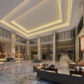 現代酒店大堂3D模型【ID:752598046】