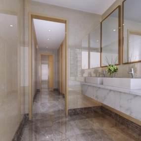 现代简约风格酒店卫生间3D模型【ID:447955155】
