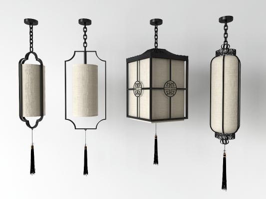 中式吊灯3D模型【ID:752134824】