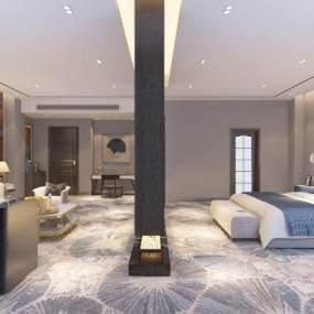新中式宾馆套房3D模型【ID:748992390】