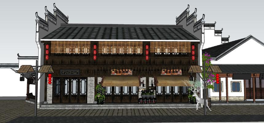 中式建筑SU模型【ID:844232613】
