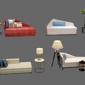 现代贵妃椅组合3D模型【ID:730941707】