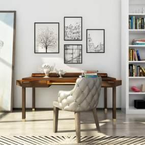 北欧书桌椅组合3D模型【ID:933510054】