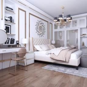 现代轻奢卧室3D模型【ID:532174222】