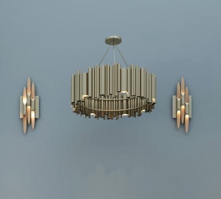 現代吊燈壁燈組合3D模型【ID:730623846】