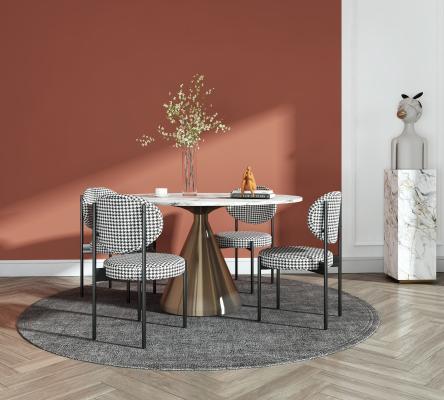 现代轻奢餐桌椅组合 餐桌 餐台 摆件 饰品装饰 黑金属布艺餐椅