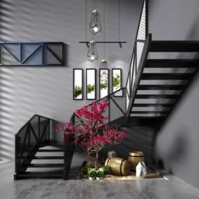 工业风楼梯扶手景观树酒桶楼梯景观摆件3D模型【ID:330583592】