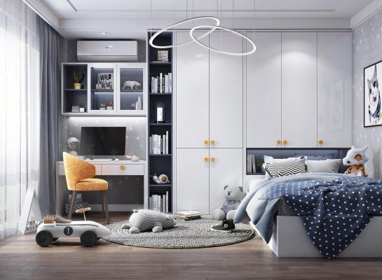 现代风格儿童房 床 书柜