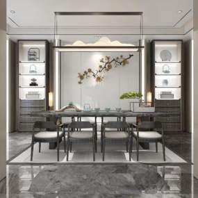 新中式茶室3D模型【ID:652866192】