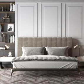 现代卧室双人床3D模型【ID:853613747】