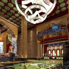 东南亚奢华酒店会所大堂3D模型【ID:744020069】