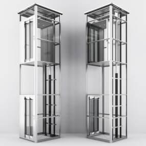 现代商场观光电梯升降电梯3D模型【ID:335957578】