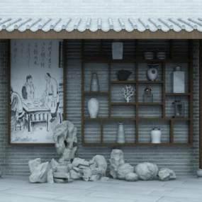 新中式壁柜3D模型【ID:137129462】