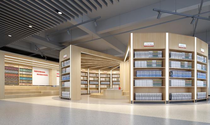 學校圖書館3D模型【ID:943737815】