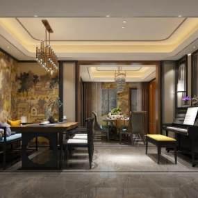 新中式餐厅3D模型【ID:535738140】