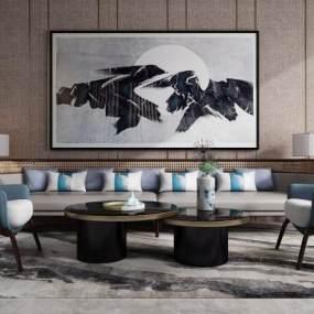 新中式沙发茶几组合3D模型【ID:632939703】