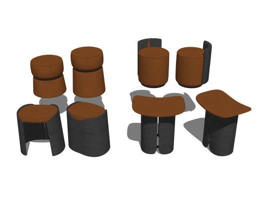 现代矮凳沙发凳组合SU模型【ID:848381680】
