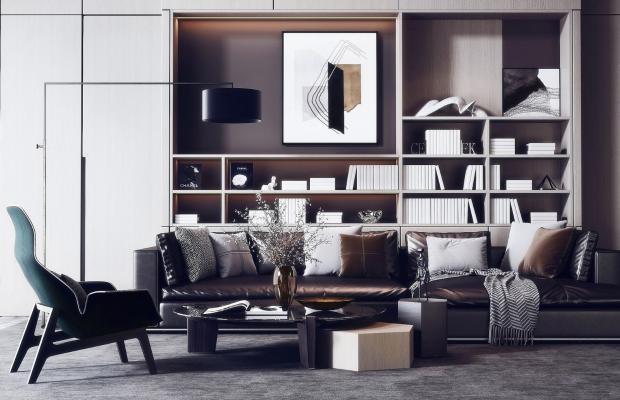 现代高级灰转角皮沙发3D模型【ID:645938750】
