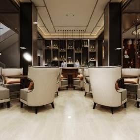 新中式酒店接待前台大堂 3D模型【ID:741806069】