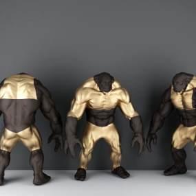 现代金刚雕塑摆件3D模型【ID:235617500】