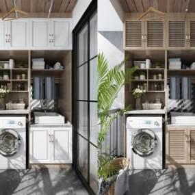 现代阳台洗衣机组合柜储物柜组合3D模型【ID:534396626】